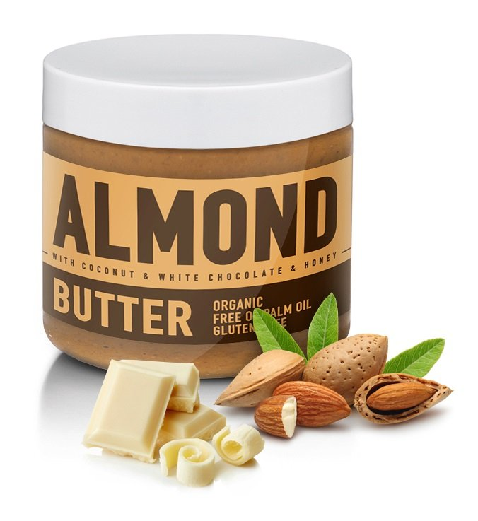 Almond Butter ochutené - Sizeandsymmetry  500 g Coconut  White Chocolate  Honey