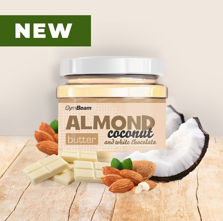 Almond Butter ochutené - GymBeam 340 g CoconutWhite Chocolate