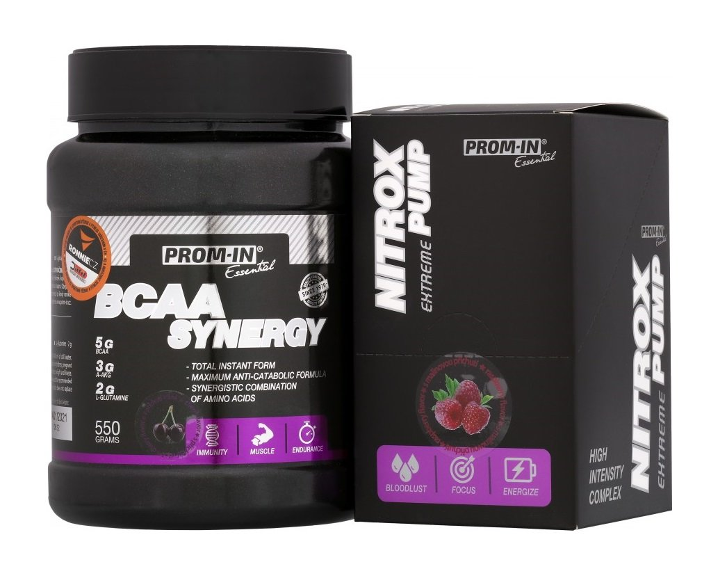 Akcia: BCAA Synergy  Nitrox Pump - Prom-IN 550 g  10x15 g Cherry