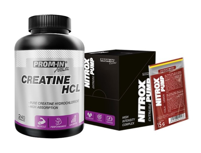 Akcia: Creatine HCL  Nitrox Pump - Prom-IN 240 kaps.  10x15 g Cherry